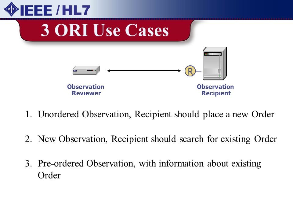 / HL7 3 ORI Use Cases. Observation. Reviewer. Recipient. R. Unordered Observation, Recipient should place a new Order.