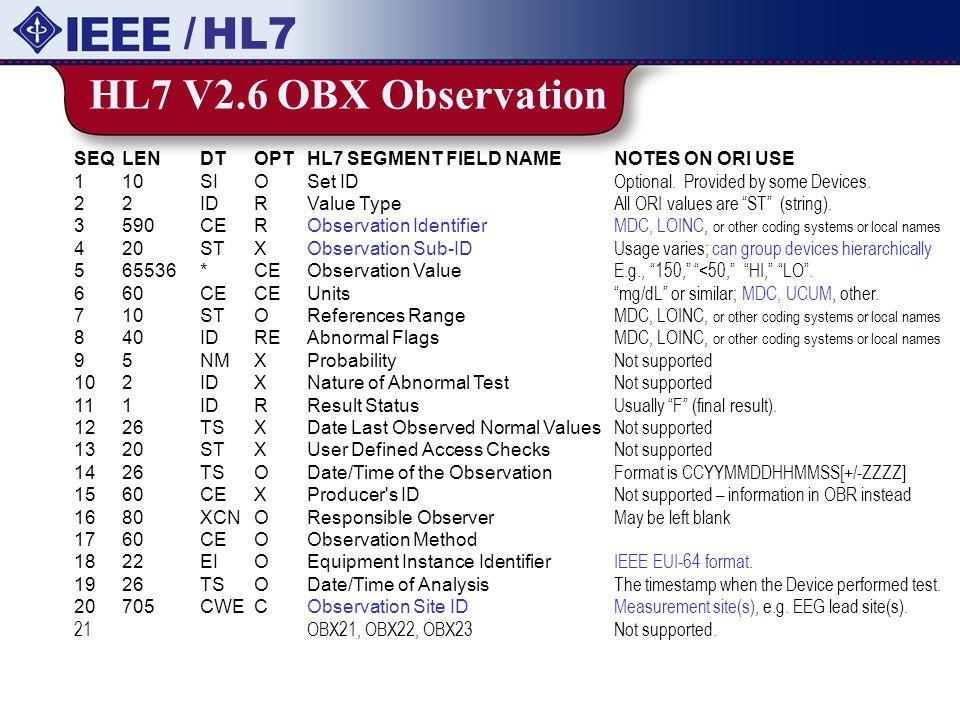 / HL7 HL7 V2.6 OBX Observation