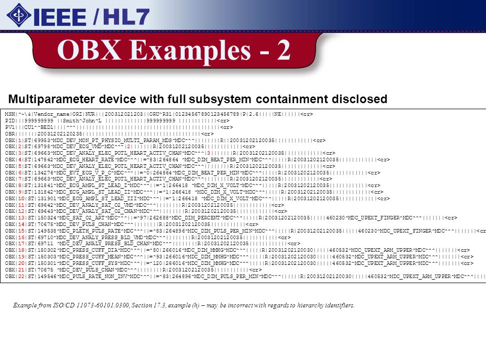 / HL7 OBX Examples - 2. Multiparameter device with full subsystem containment disclosed.
