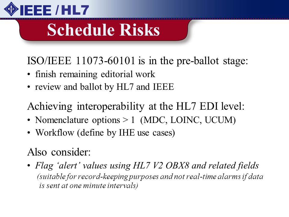 Schedule Risks / HL7 ISO/IEEE is in the pre-ballot stage: