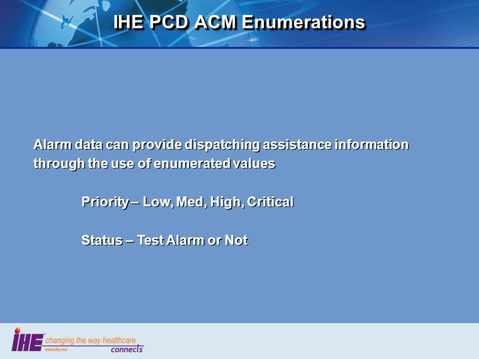 IHE PCD ACM Enumerations