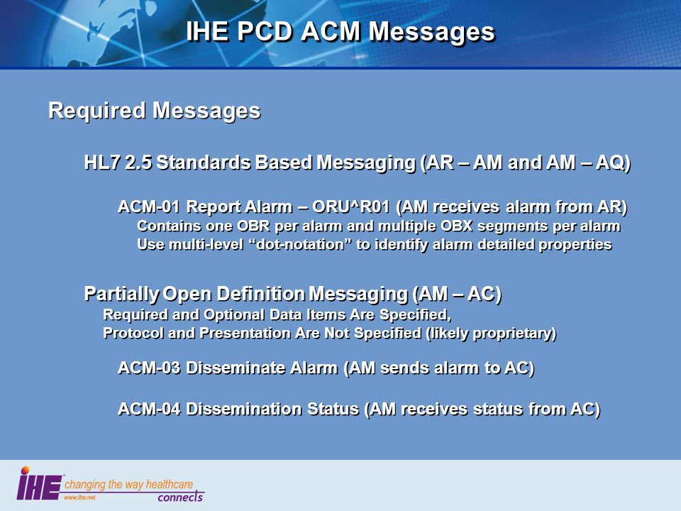 IHE PCD ACM Messages Required Messages