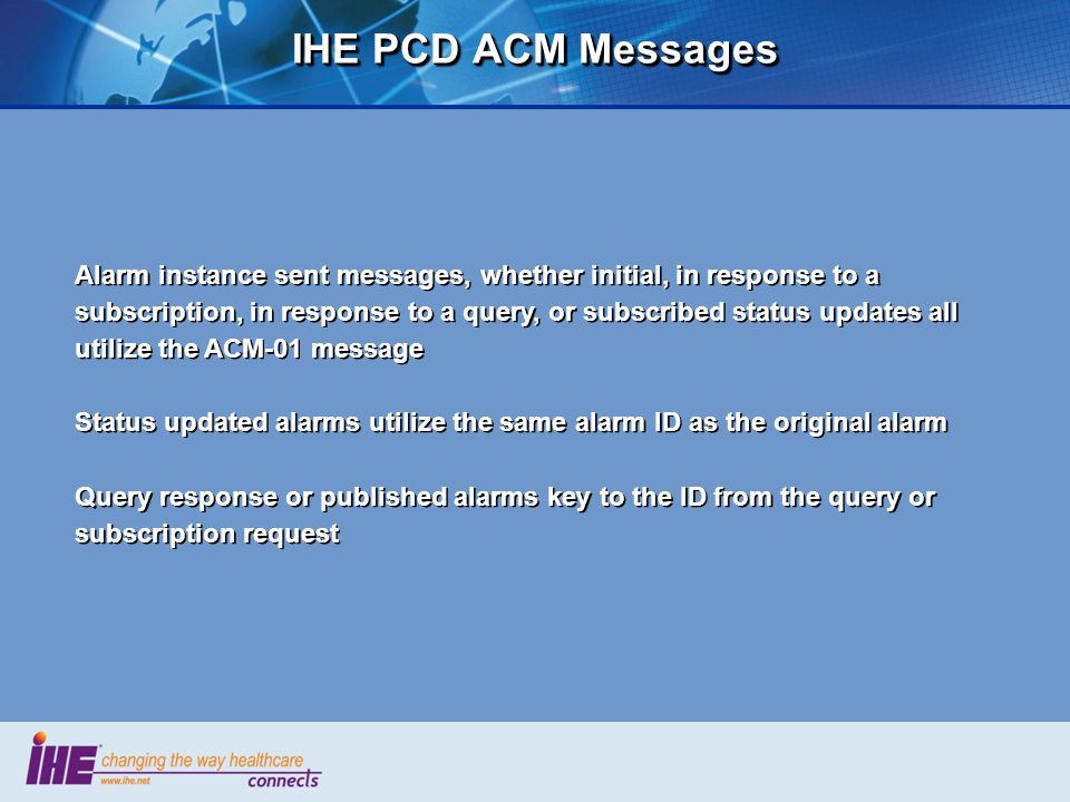IHE PCD ACM Messages