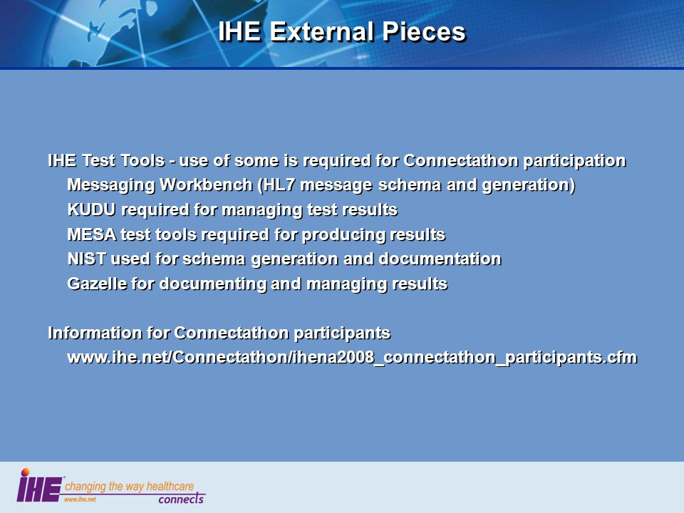 IHE External Pieces IHE Test Tools - use of some is required for Connectathon participation. Messaging Workbench (HL7 message schema and generation)