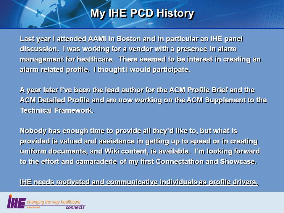 My IHE PCD History