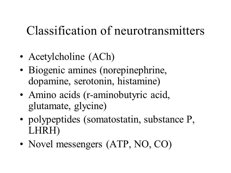 Classification of neurotransmitters