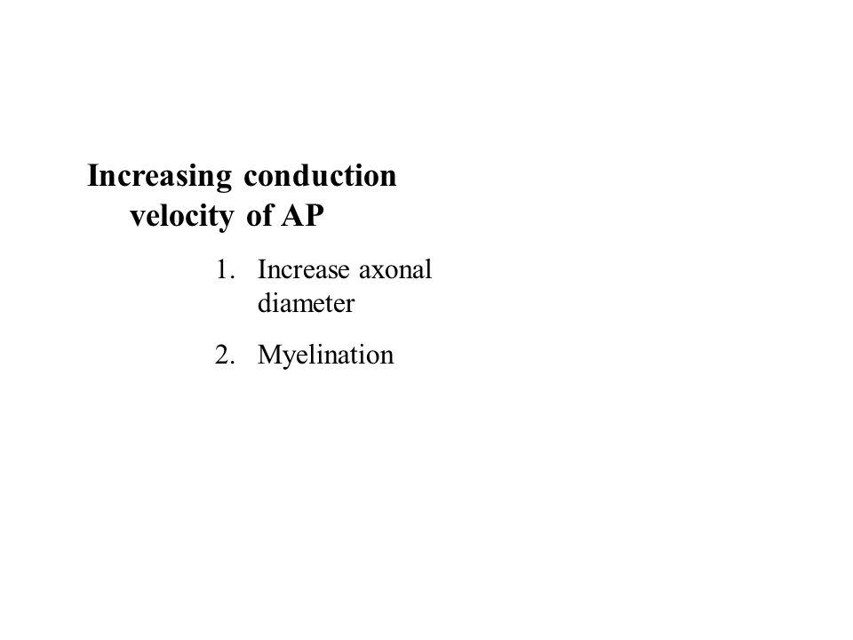 Increasing conduction velocity of AP