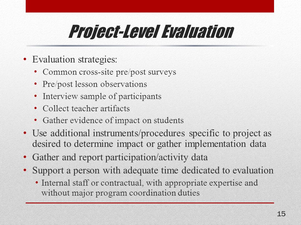 program evaluation essay Program planning and evaluation paper essay sample in comparison, each of the two components program planning and program evaluation are related in the way that each is a theory based and goal-oriented activity.