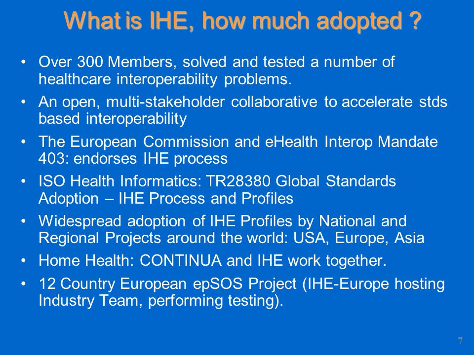What is IHE, how much adopted