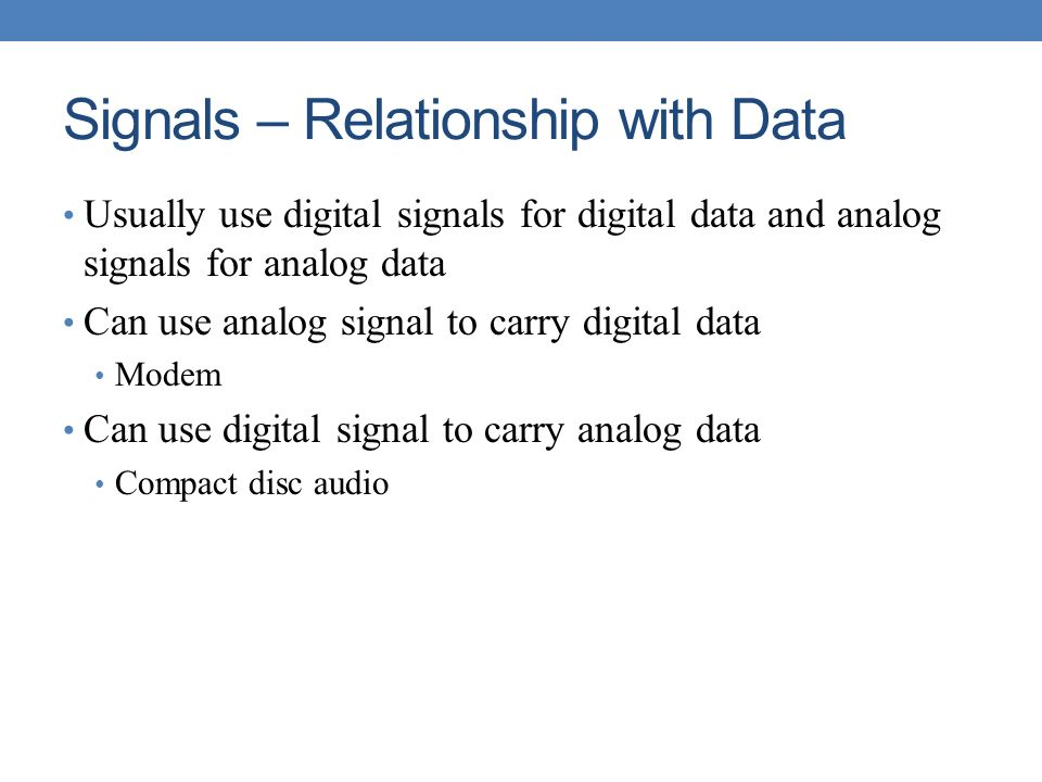 Signals – Relationship with Data