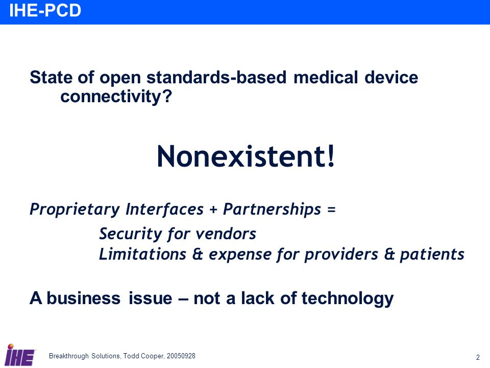 State of open standards-based medical device connectivity