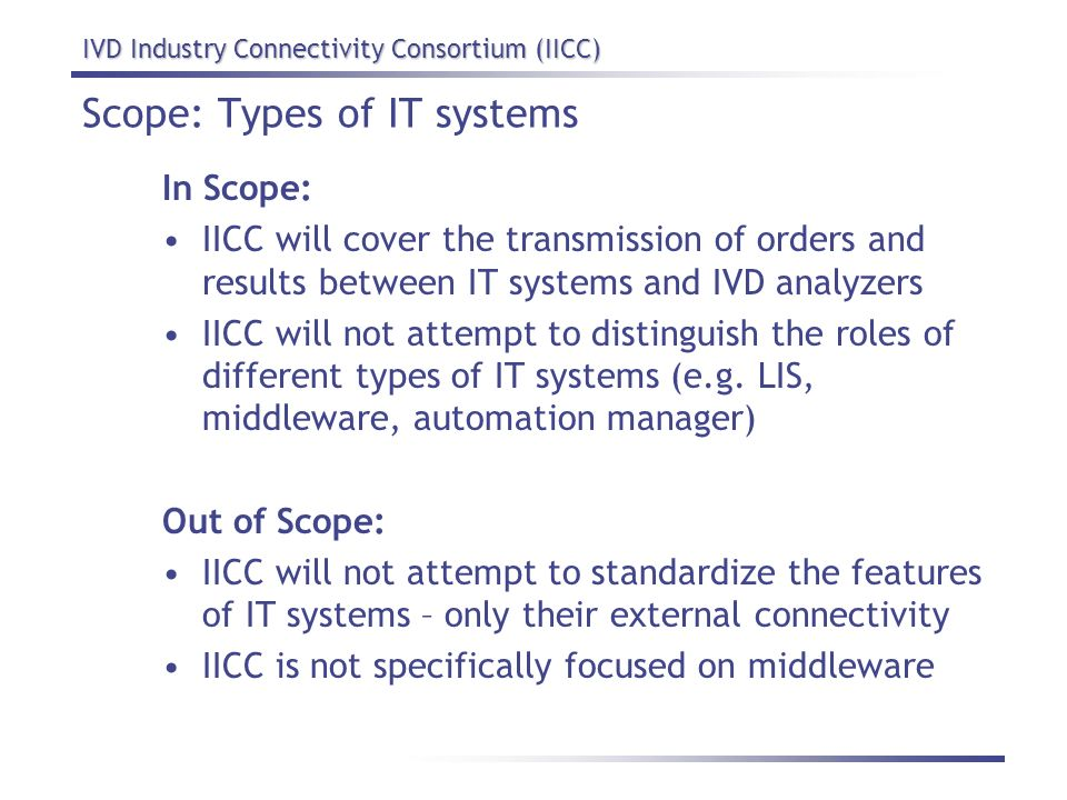 Scope: Types of IT systems