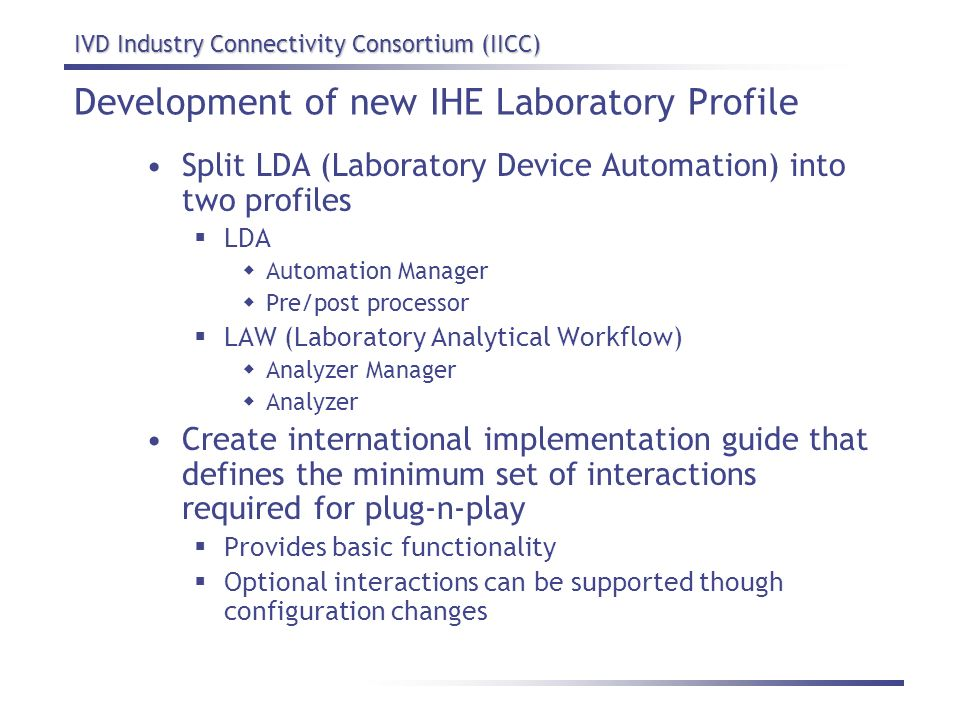 Development of new IHE Laboratory Profile