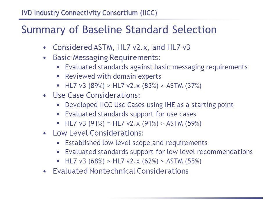Summary of Baseline Standard Selection