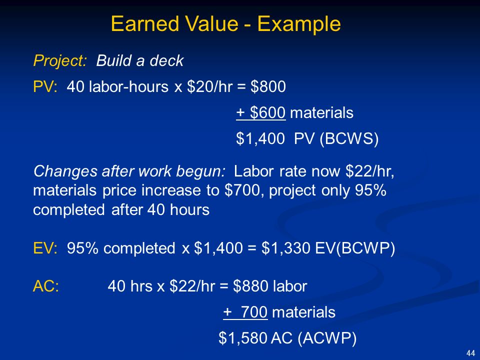 1 what are the pv ev and ac for the project at the end of month 4 Basic concepts of earned value budget at completion eac - estimate at completion ev - earned value pv - planned value ac - actual costs element 120description cost accrual timing common sense practice to accrue the costs for the material in the same month as the bcwp.