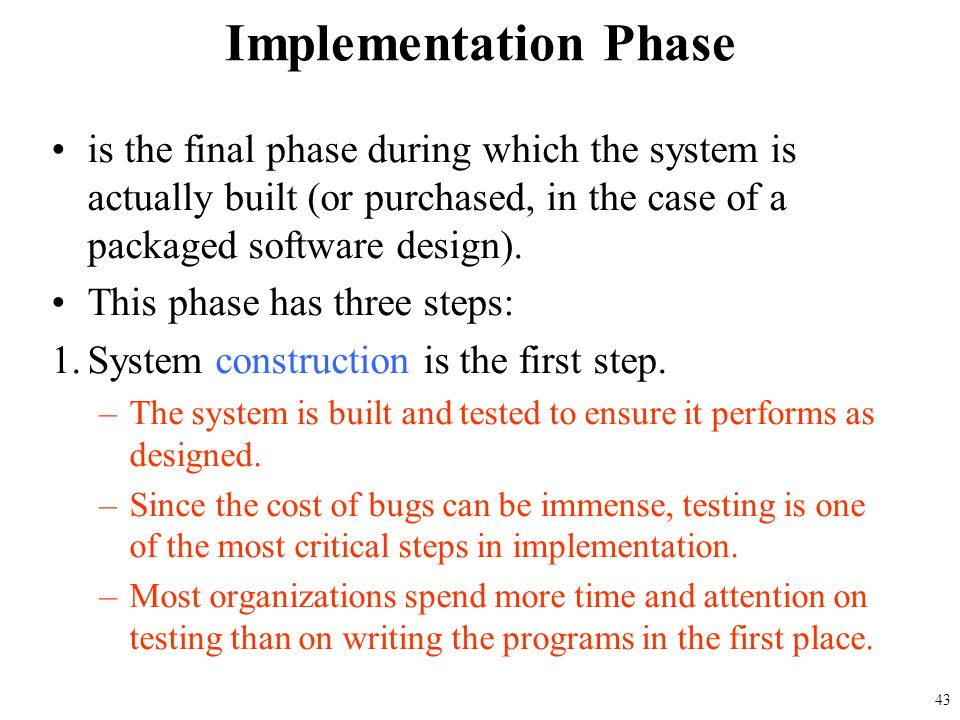 the implementation phase essay Change management in ehr implementation primer provided by: the national learning consortium (nlc) change management is the basic foundation underlying all phases of the ehr implementation lifecycle and helps achieve ehr meaningful use and practice transformation.
