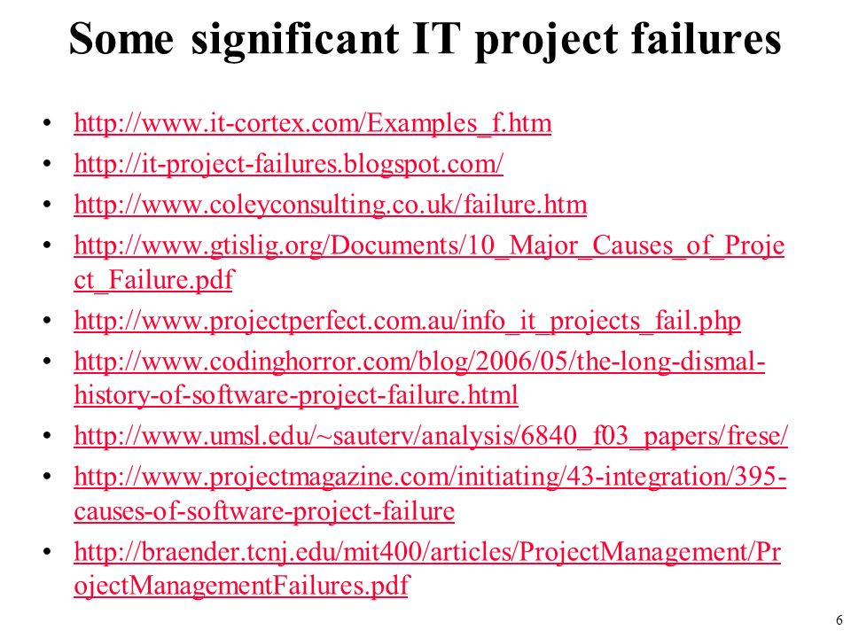 Project failure essay