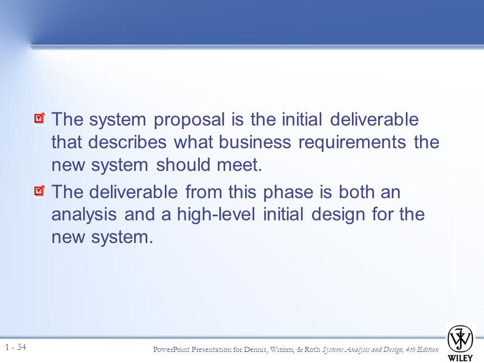 system analysis and design system proposal View essay - cs_m4 from it 2200 at delft university of technology system analysis and design/feasibility analysis case study case study system proposal on a.
