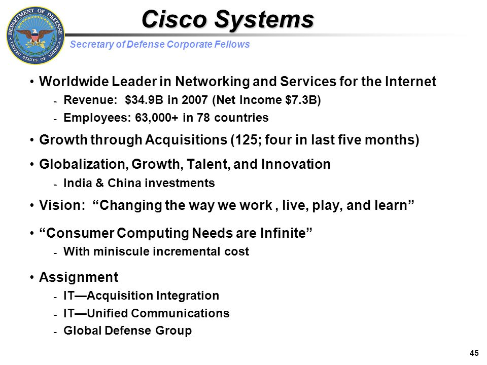 cisco systems worldwide leader in internet networking Cisco is the worldwide leader in networking that transforms how people connect, communicate, and collaborate since 1984, cisco has led in the innovation of several networking technologies such as routing, switching, security, unified communications, video, and wireless.