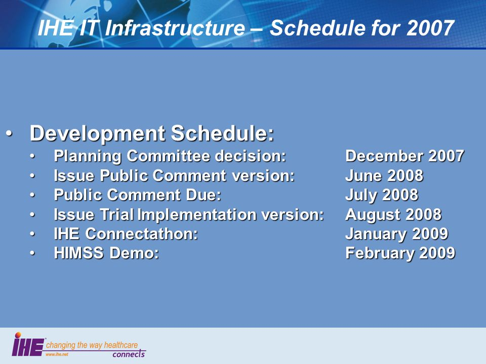 IHE IT Infrastructure – Schedule for 2007