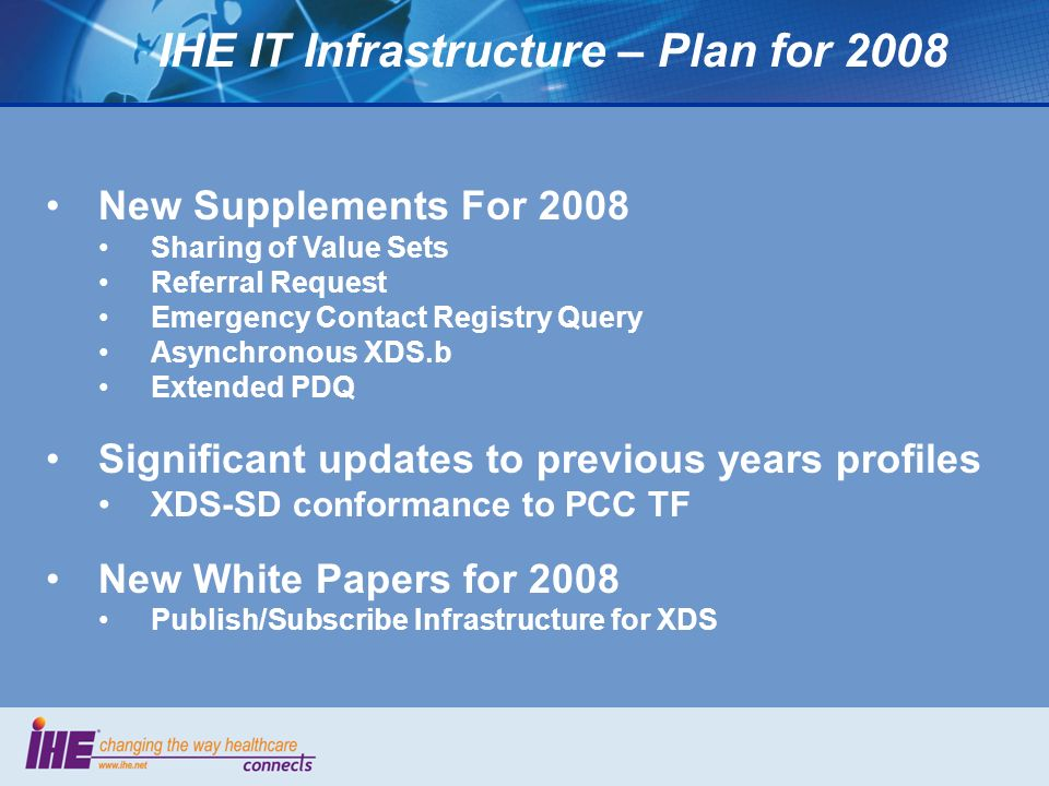 IHE IT Infrastructure – Plan for 2008