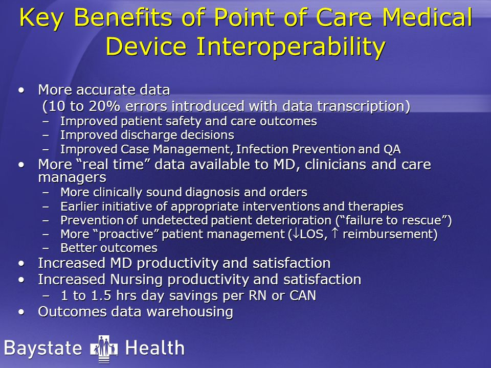 Key Benefits of Point of Care Medical Device Interoperability