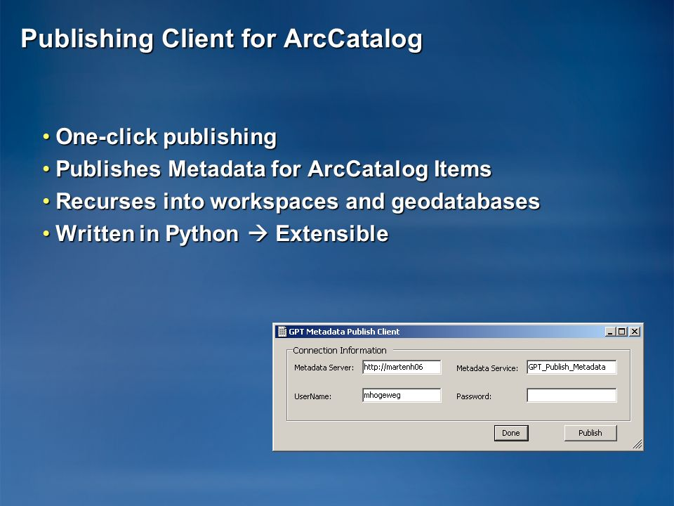 Publishing Client for ArcCatalog