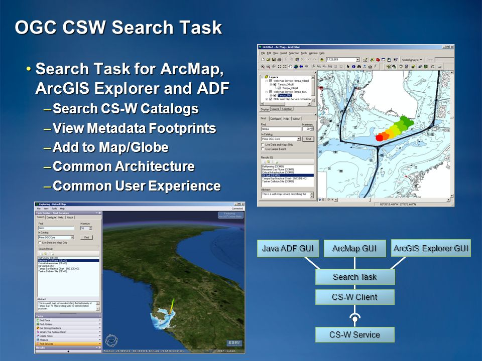OGC CSW Search Task Search Task for ArcMap, ArcGIS Explorer and ADF