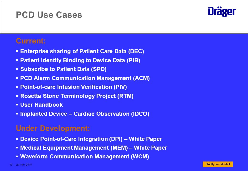 PCD Use Cases Current: Under Development: