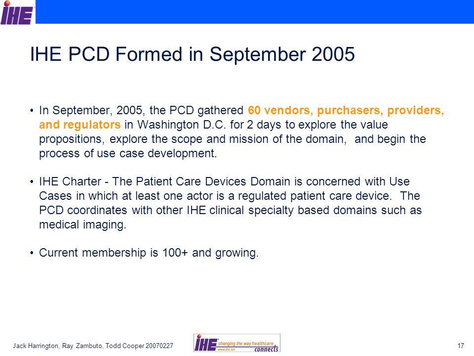 IHE PCD Formed in September 2005