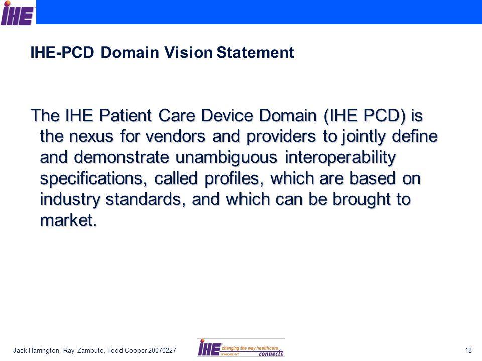 IHE-PCD Domain Vision Statement