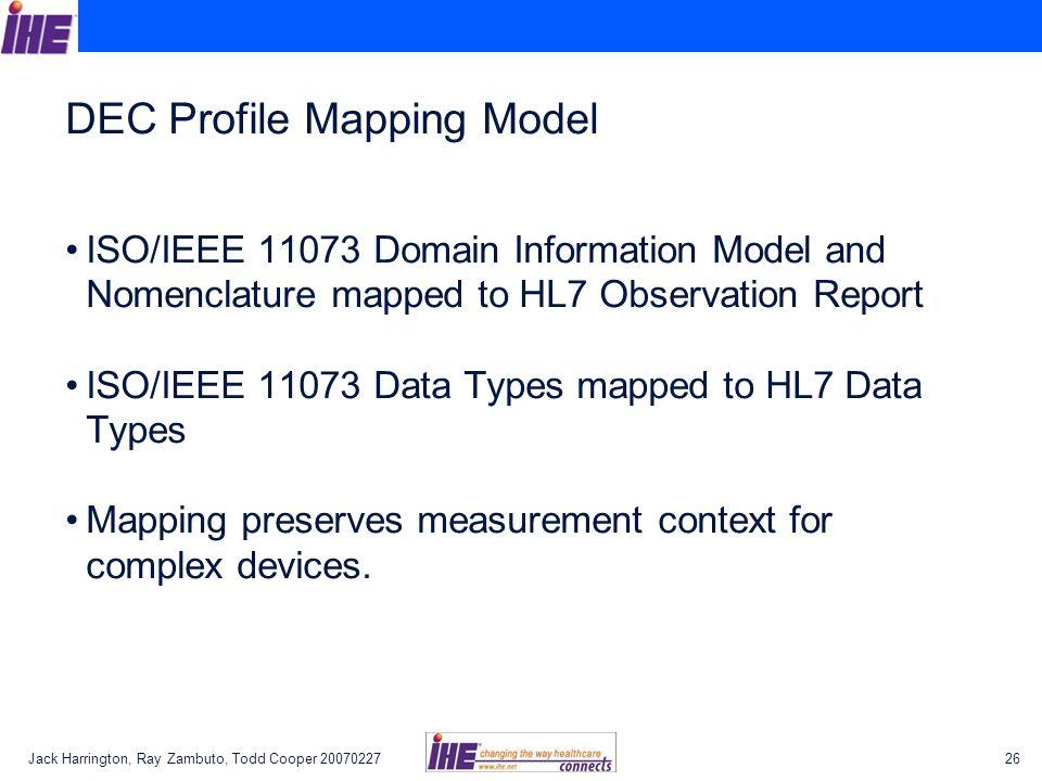 DEC Profile Mapping Model