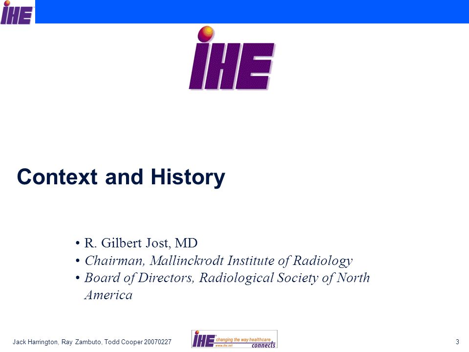 Context and History R. Gilbert Jost, MD