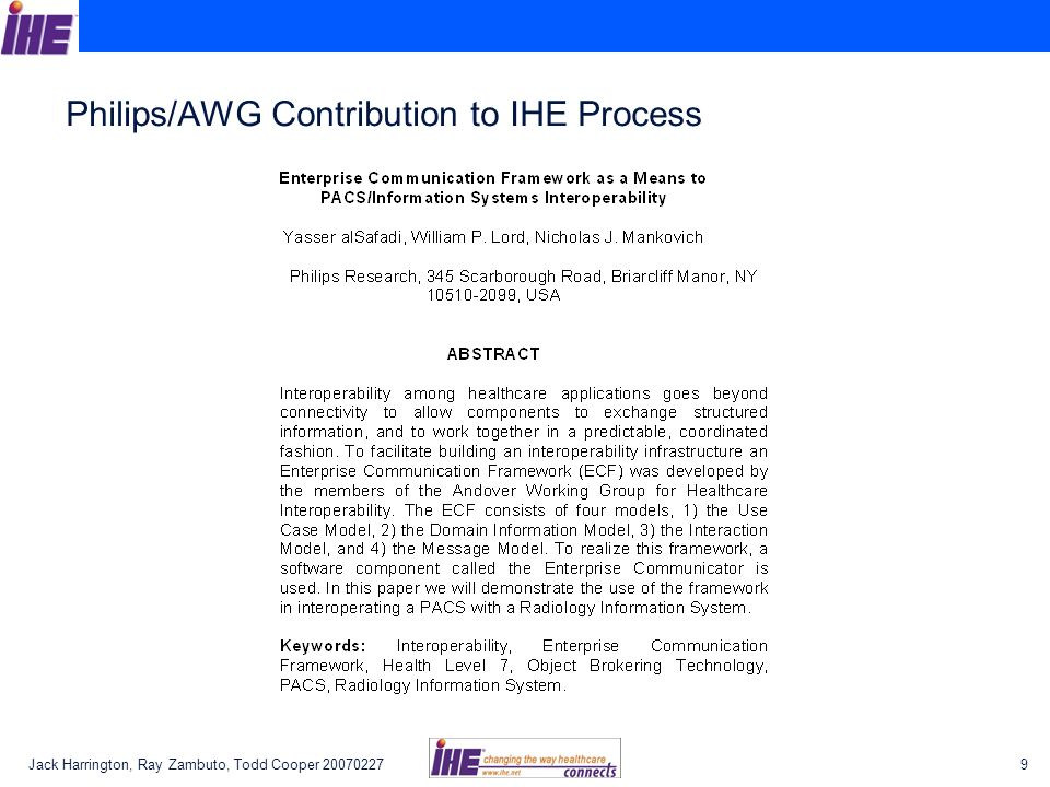 Philips/AWG Contribution to IHE Process