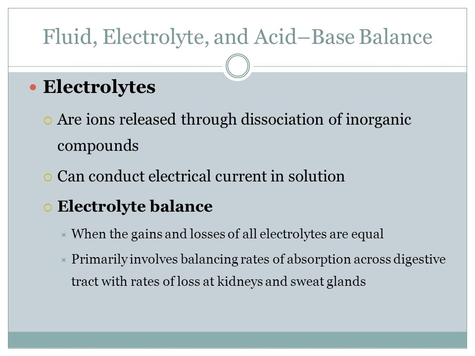 electrolyte balances and body fluid Looking for online definition of electrolyte balance in the medical dictionary   the state of appropriate concentrations of ionized solutes in the body fluids.