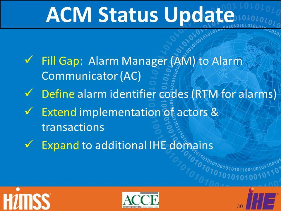 ACM Status Update Fill Gap: Alarm Manager (AM) to Alarm Communicator (AC) Define alarm identifier codes (RTM for alarms)