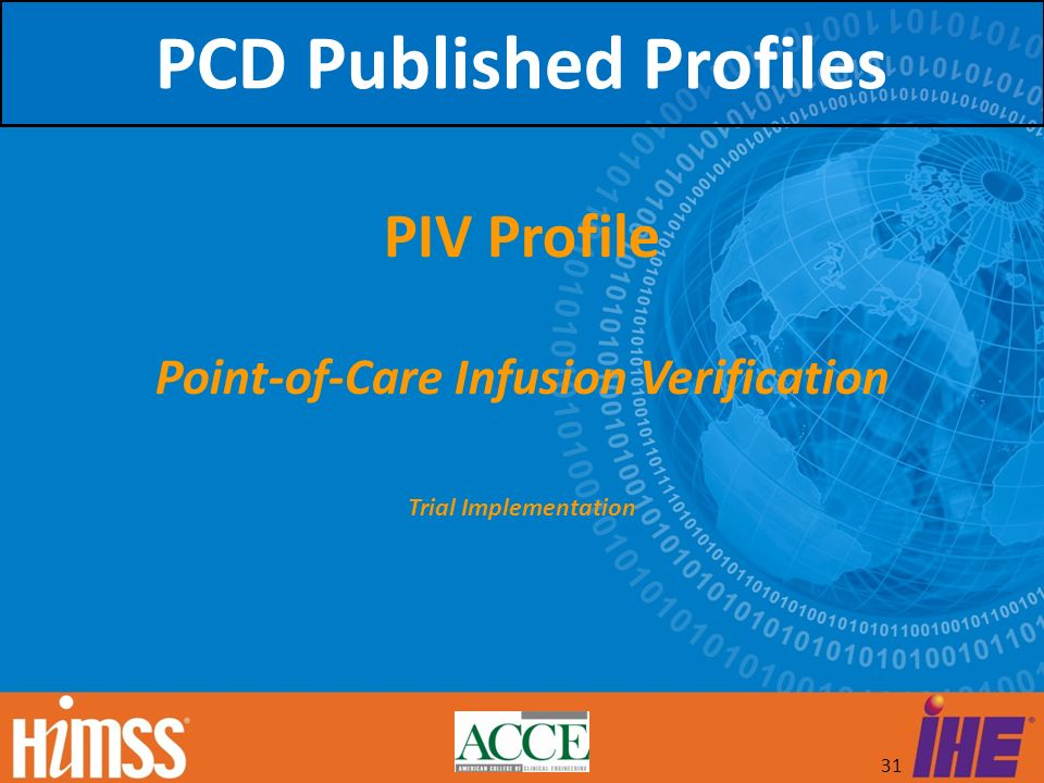 PCD Published Profiles Point-of-Care Infusion Verification