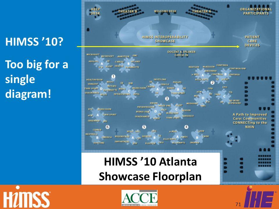 HIMSS '10 Atlanta Showcase Floorplan HIMSS '10 Too big for a single diagram!