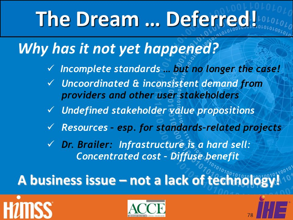 The Dream … Deferred! Why has it not yet happened