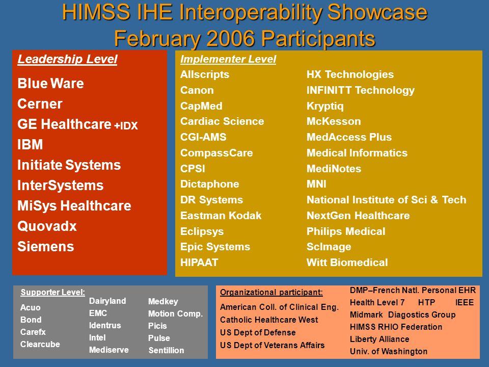 HIMSS IHE Interoperability Showcase February 2006 Participants
