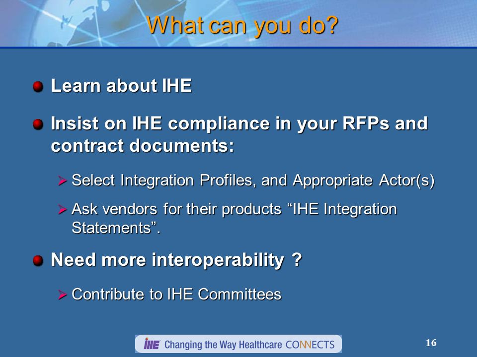 What can you do Learn about IHE