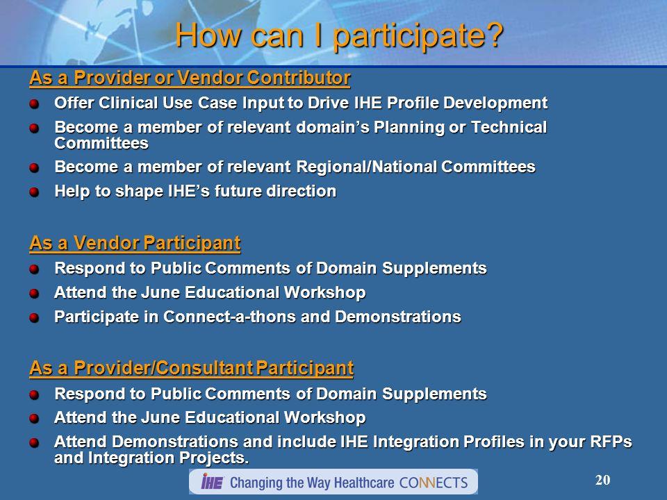 How can I participate As a Provider or Vendor Contributor
