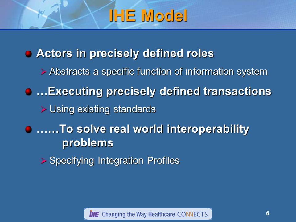 IHE Model Actors in precisely defined roles