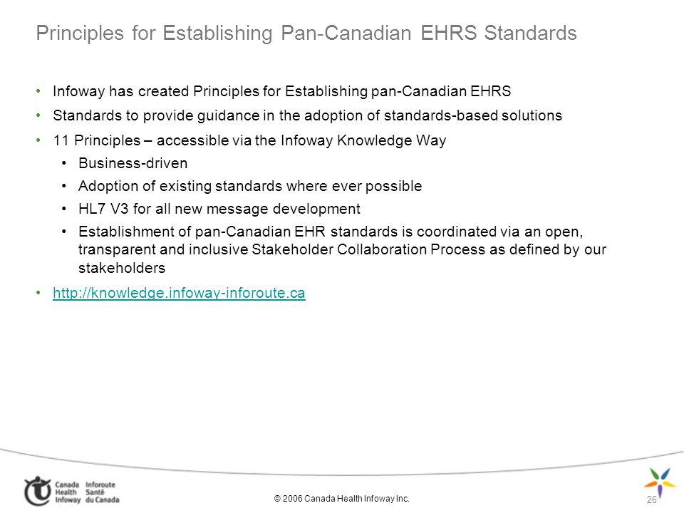 Principles for Establishing Pan-Canadian EHRS Standards