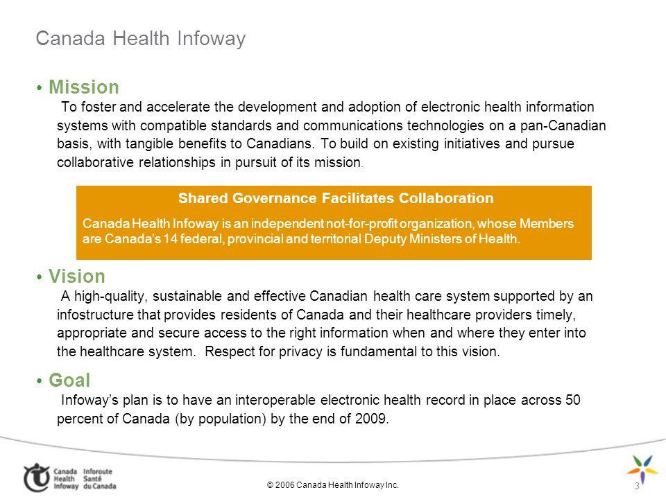 Canada Health Infoway Mission Vision Goal