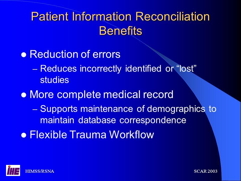 Patient Information Reconciliation Benefits