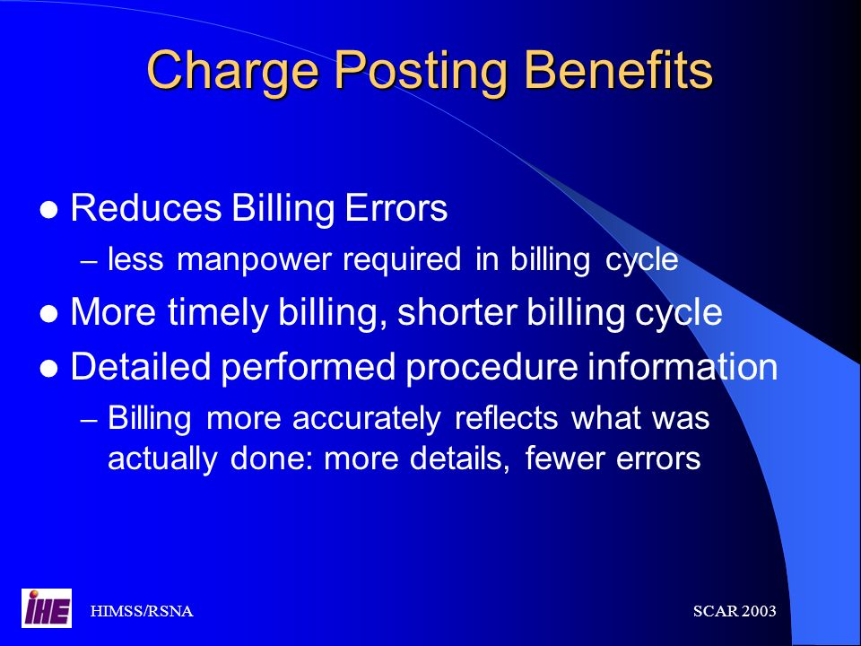 Charge Posting Benefits