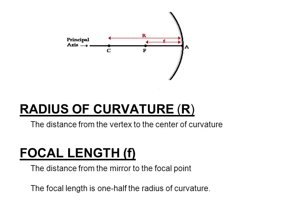 determining the focal length of a concave mirror by locating centre of curvature Chapter 25 physics exam iii  13 the focal length of a spherical concave mirror is 25 cm what is its radius of curvature  determine the radius of curvature .