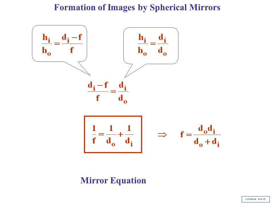 Geometric optics conceptual quiz ppt video online download for Mirror formula