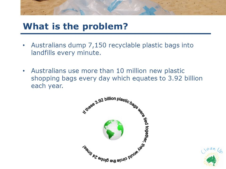 What is the problem Australians dump 7,150 recyclable plastic bags into landfills every minute.